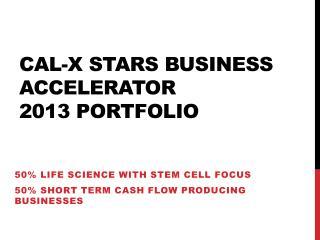 Cal-X stars Business Accelerator  2013 Portfolio