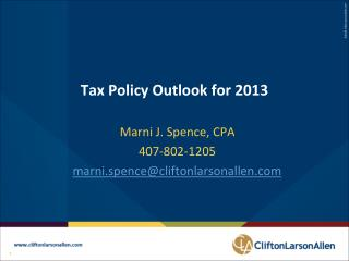 Tax Policy Outlook for 2013