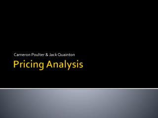 Pricing Analysis