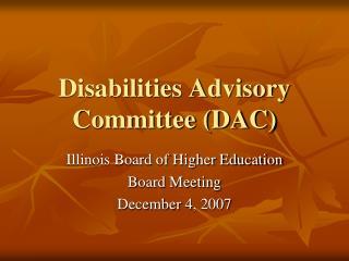 disabilities advisory committee dac