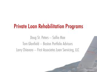 Private Loan Rehabilitation Programs