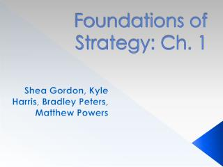 Foundations of Strategy: Ch. 1