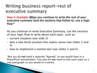 Writing  business  report-rest of executive summary