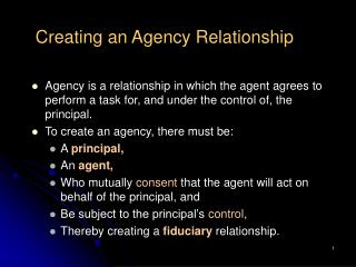 creating an agency relationship