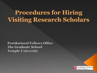 Procedures for Hiring Visiting Research Scholars