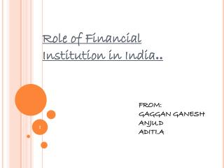 Role of Financial Institution in India ..