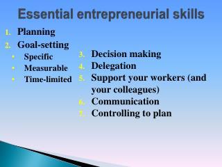 Essential entrepreneurial skills