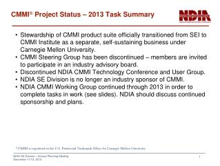 CMMI ®  Project Status – 2013 Task Summary