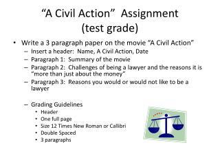 """A Civil Action""  Assignment (test grade)"