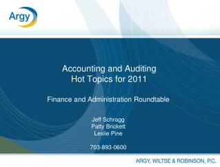 Accounting and Auditing Hot Topics for 2011