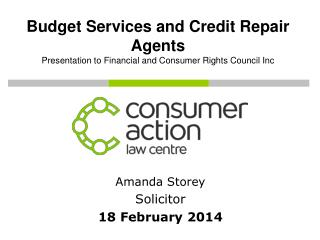 Budget Services and Credit Repair Agents Presentation to Financial and Consumer Rights Council Inc