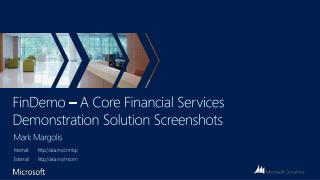 FinDemo  – A Core Financial Services Demonstration Solution Screenshots