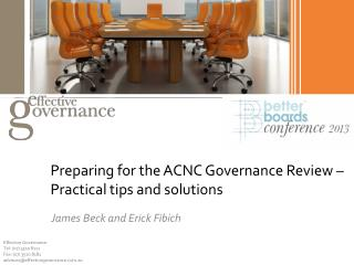Preparing for the ACNC Governance Review � Practical tips and solutions