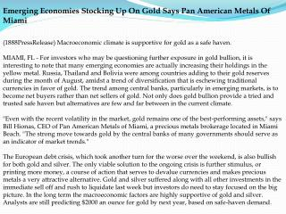 emerging economies stocking up on gold says pan american met