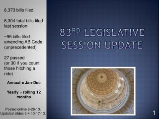 83 rd  Legislative  Session Update
