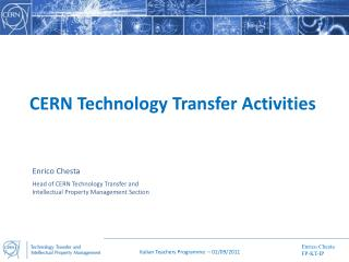 CERN Technology Transfer Activities
