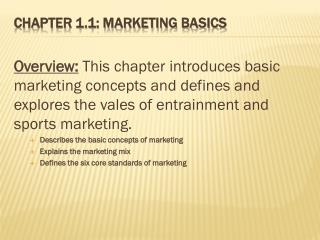Chapter 1.1: Marketing Basics