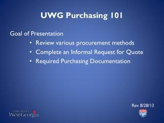 UWG Purchasing 101