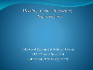 Meeting Agency Reporting Requirements