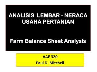 ANALISIS  LEMBAR -  NERACA  USAHA PERTANIAN Farm  Balance Sheet Analysis