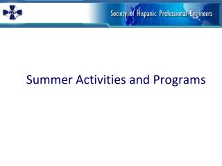 Summer Activities and Programs