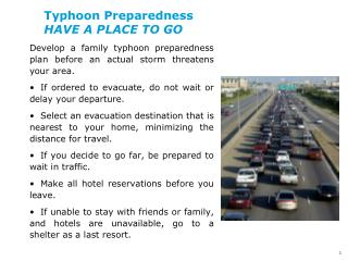 Typhoon Preparedness HAVE A PLACE TO GO