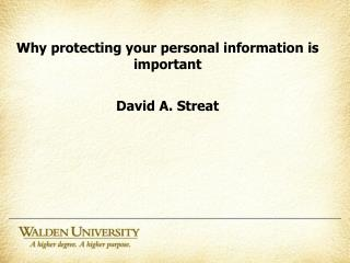 Why protecting your personal information is important