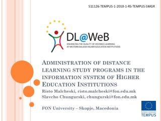 Administration of distance learning study programs in the information system of Higher Education Institutions