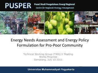 Energy  Needs Assessment and  Energy Policy Formulation for Pro-Poor Community