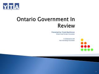 Ontario Government In Review