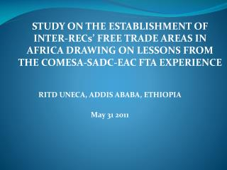 RITD UNECA, ADDIS ABABA, ETHIOPIA May 31 2011