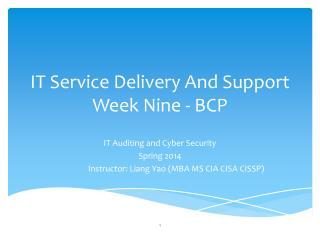IT Service Delivery And Support Week Nine - BCP