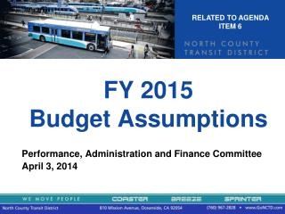 FY 2015  Budget Assumptions