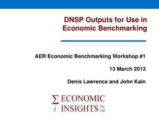DNSP Outputs for Use in  Economic Benchmarking