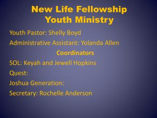 New Life Fellowship  Youth Ministry