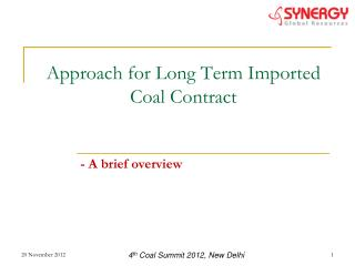 Approach for Long Term Imported Coal Contract