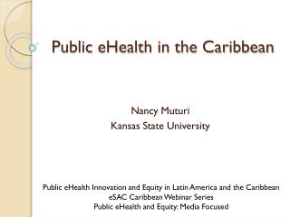 Public  eHealth in the Caribbean