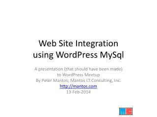 Web Site Integration using WordPress  MySql