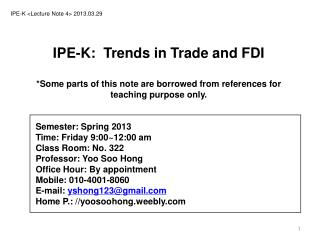 IPE-K  < Lecture Note  4> 2013.03.29