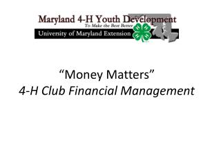 """Money Matters"" 4-H Club Financial Management"