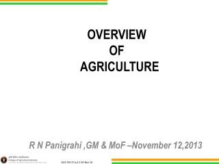 OVERVIEW  OF   AGRICULTURE