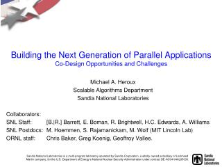 Building the Next Generation of Parallel Applications Co-Design Opportunities and Challenges