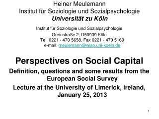 Heiner Meulemann Institut für Soziologie und Sozialpsychologie Universität  zu Köln