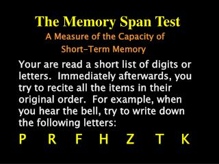 the memory span test