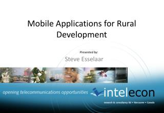 Mobile Applications for Rural Development