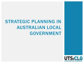 Strategic planning in  Australian local Government