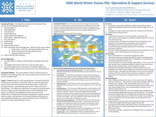 2009 World Winter Games PDL:  Operations & Support Services