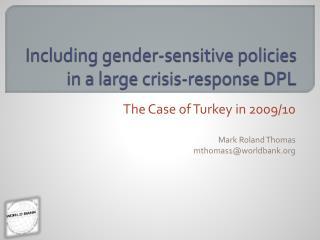 Including gender-sensitive policies in a large crisis-response DPL