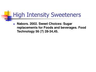 high intensity sweeteners