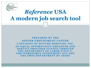 Reference  USA A modern job search tool